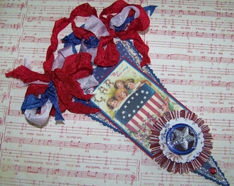 July 4th Decoration Patriotic Decoration Americana Decoration Wall Hanging Vintage Style Single Pennant Banner Plaque