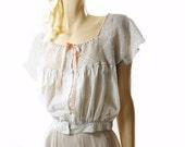 Edwardian Chemise, 1910s Antique Cami, Vintage Lace Top, Bohemian Lace Top, Hand Crochet Lace, Cotton Camisole, White Boho Blouse, Large