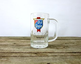 Old Style Vintage Retro Beer Mug Glass Barware Heavy Thick Glass Handle Retro Hipster College Dorm