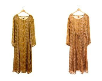 Long Sheer Indian Dress Floral Maxi Dress Flower Print Indian Festival Dress Hippie Boho Slip Dress Vintage Long Sleeve Dress Medium Large