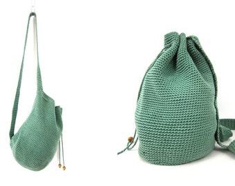 vintage 90s green Woven fabric rucksack backpack Bucket Bag One STrap Shoulder Bag Purse Preppy Hipster Purse Dell's