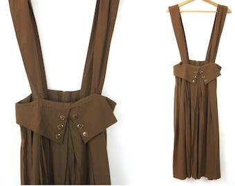 70s Brown Suspenders Dress Hipster Skirt Dress Womens High Waist Babydoll Sun Dress Medium