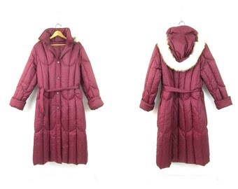 Retro Maxi Coat Long vintage Cocoon Down Quilted puffer jacket Puffy modern winter coat Hooded Puffa waist Hipster Coat womens size Large XL