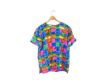 Colorful Silk Blouse Boxy Short Sleeve Silk 90s Tshirt Abstract Colorful Top Vintage 1990s Boho Spring Tee Womens Medium