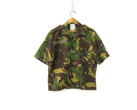 US Army CAMO Shirt Vintage United States Marines Military Button Up Green Camouflage Fatigues Grunge Punk Patched size Large