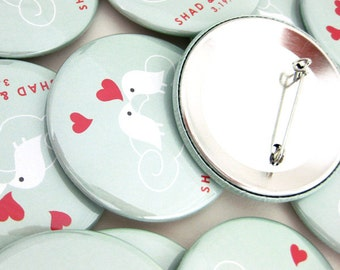Unique Wedding Favors, 2.25 inch Love Bird Buttons, Party Favors Pinback Buttons  Lovebirds on Cloud Teal and Red Pins