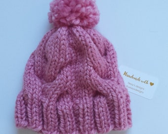 Knit cable hat with pom pom. Chunky yarn. Knit. Knit gift. Knit wear. Winter. Winter accessory.