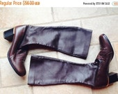 CYBER MONDAY SALE 1960s Vintage Golo Italy Brown Mod GoGo Knee High Boots  8 1/2