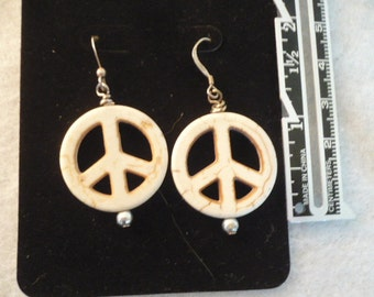 Hippie Peace Sign Dangle Earrings with Howlite White Peace Sign, Hippie Jewelry, BoHo Jewelry, Gypsy Jewelry, Peace Signs,