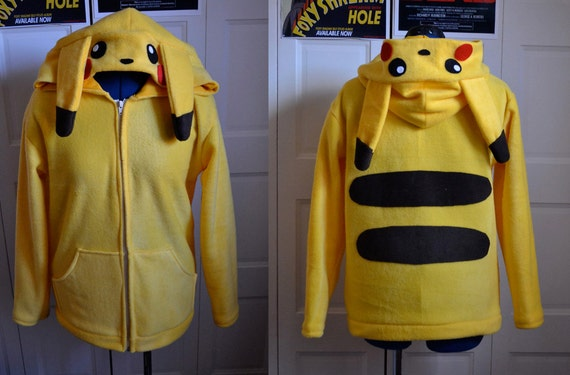 Made to Order Custom Pikachu Hoodie Sizes XS - XL