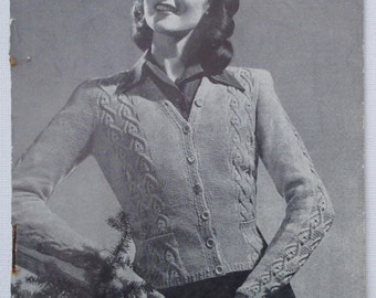 Vintage Knitting Pattern 1930s 1940s Women's Cardigan Jacket fitted cable design 30s 40s original pattern WW2 wartime style Sirdar No 1085