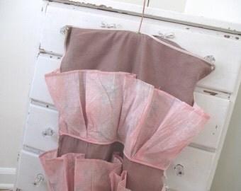 Vintage Shoe Bag * Holder Organizer * Lingerie * Pink * Shabby Chic