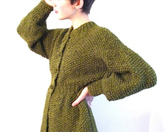BASIA DESIGNS Hand Knit High Waisted Olive Tweed Long Cardigan - Free US Shipping