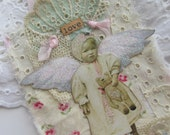 Fairy Gift Tag, Tattered Fabric Collage, Tag Original Collage Tag