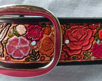 Pastel Flower Garden  Leather Belt with Purple Border made in GA USA