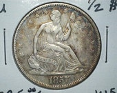 Liberty Seated 1857 Half Dollar US 90% Silver / US Coin / Nice Very Old