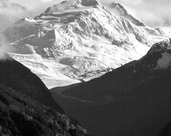 Mountain Valley Glacier Alaska-8x10-B&W Fine Art Photo-Certificate of Authenticity-Signed by Artist