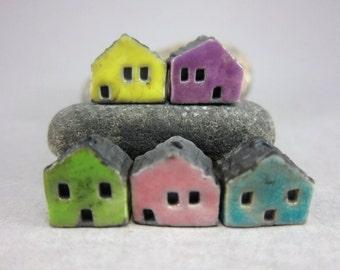 5 Saggar Fired Miniature House Beads...Lemon Purple Green Pink Lagune
