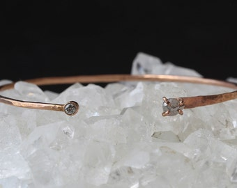 Open Cuff Black + White Diamond Bracelet