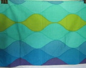 Fab Vintage Pillowcase Blues and Green with Purple Wavy Harlequin Print