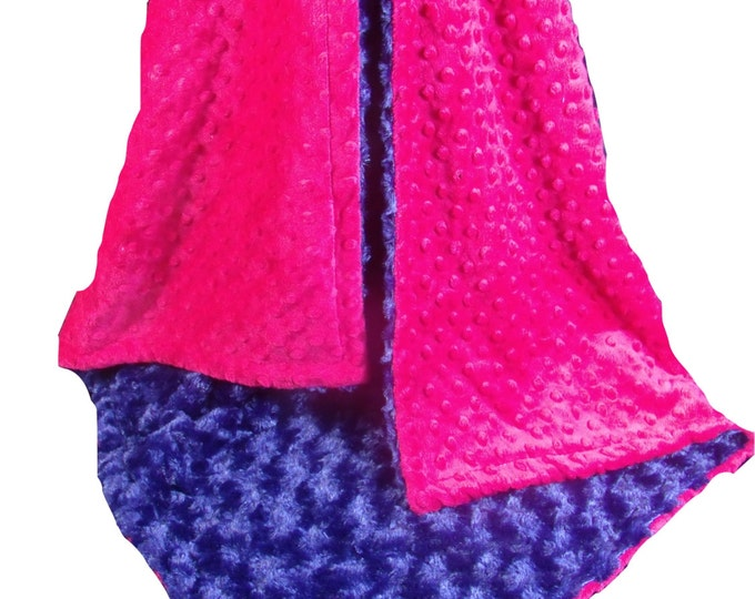 Pink and  Navy Blue Rose Swirl Baby Blanket, Fuchsia Navy Blanket, , available in three sizesCan Be Personalized