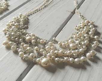 Three-strand freshwater pearl cluster necklace