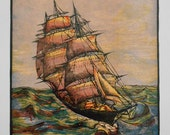 Clipper Ship print, Vintage color wood engraving 1936, Sovereign of the Seas