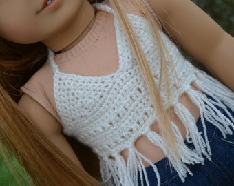 18 inch Doll Clothes, Bohemian Crocheted Tank, Fringe Crop Top, Cream Crochet Shirt, fits American Girl, MADE TO ORDER