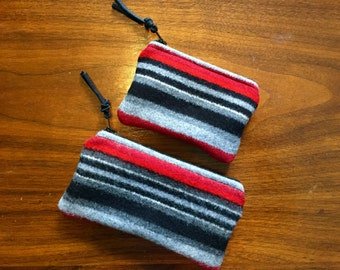 Organizer Set of 2 / Gift Set Wool Geometric Stripes Handcrafted Using Fabric from Pendleton Woolen Mill