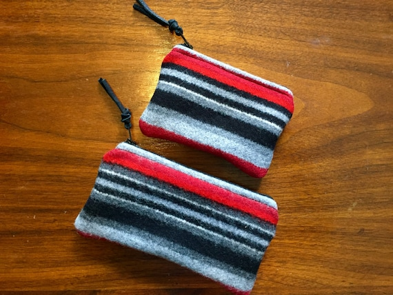 Organizer Set of 2 / Gift Set Wool Black & Gray Serape Stripes