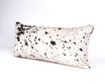 Black and Ivory Cowhide Pillow ~ Men's Pillow ~ Salt and Pepper Pillow ~ Double Sided Leather Pillow ~ Brazilian ~ Leather Lumbar ~ Rustic