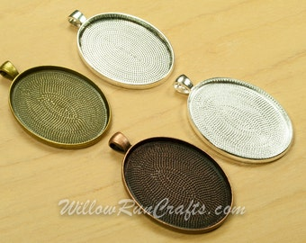 5 pcs 30mm x 40mm Oval Pendant Trays in Antique Bronze, Antique Copper, Antique Silver,and Silver Plated, Blank Bezel Cabochon Setting