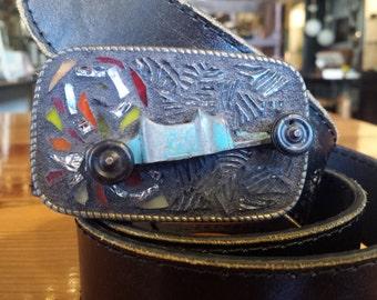 Old school Kustom Hot Rod Mosaic belt buckle