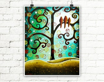 Turquoise Print Birds Wall Art Living Room Decor, Curly Tree of Life Whimsical Landscape Family Gift