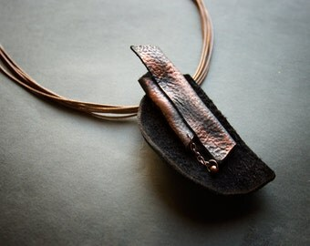 Stylish rustic leather pendant Copper an blue color Unique leather jewelry