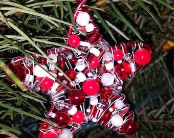 Beaded Christmas ornament - custom ornament - star ornament - holiday decor - Christmas tree ornament - hostess gift - teacher gift