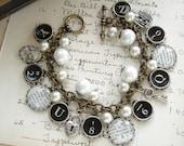 Murder, She Wrote - Typewriter Key Bracelet. Literary Bracelet. Dictionary Jewelry. Assemblage Charm Bracelet. Eco Friendly Bookish Gift.