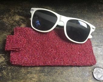 Beaded Eyeglass Case - soft beaded eyeglass case - 80s vintage purse - sunglasses case