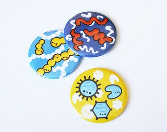Large Microbiology Button, Pocket Mirror, Bottle Opener, Bacteria, Science Gift, Biology Gift, Cute Button, Virus Button, Geeky Gift