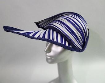 Kou Sun Cap in Nautical Striped blue and white Buntal Straw