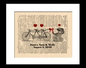New Baby Art Print, Family Tandem Bicycle For Two or Three + Baby Carriage Dictionary Page Print, Custom Art, Names and Date, Nursery Art