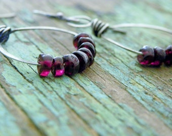 Garnet & Silver Hoop Earrings