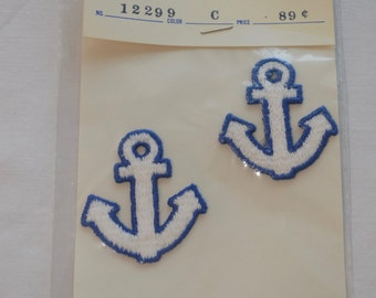 Vintage ANCHOR patches set of 2 embroidered fabric patch nautical