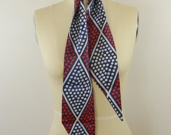 Vintage Women's Scarf Diamond Pattern with Red White and Blue Polka Dots Long and Narrow Head Scarf Style