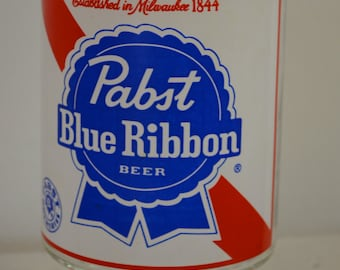 sale Vintage PABST BLUE RIBBON Beer giant beer glass 1960's 70's milwaukee