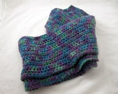 Water Liles  crocheted cashmere scarf OOAK