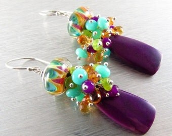 25% Off Summer Sale Purple Agate With Peruvian Opal, Citrine, Jade, Quartz and Lampwork Bead Cluster Dangle Earrings