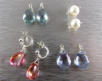 Interchangable Earring Wardrobe, Quartz and Pearl Sterling Silver Earring Wardrobe