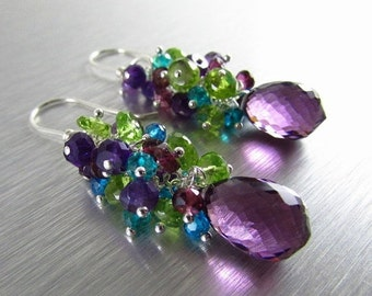 20 % Off Colorful Gemstone Earrings - Peridot, Amethyst, Garnet and Quartz With Sterling Silver