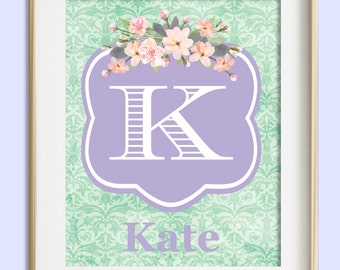Girls Wall Art, Lavender Mint Nursery Wall Decor, Baby Girl Nursery, Nursery Decor Girl, Personalized Baby, New Baby Gift, Girl Room Decor